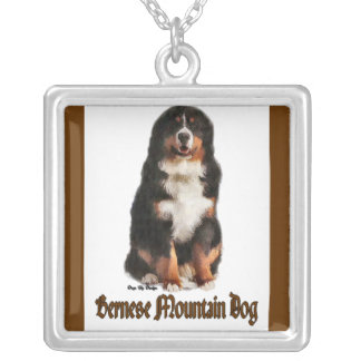 Bernese Mountain Dog Art Silver Plated Necklace