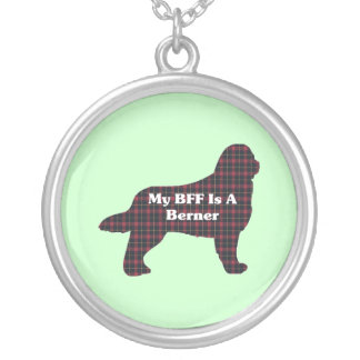 Bernese Mountain  Dog BFF Silver Plated Necklace