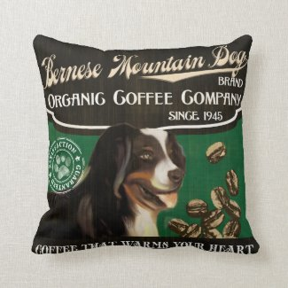 Bernese Mountain Dog Brand – Organic Coffee Compan Throw Pillow