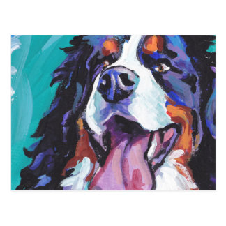 Bernese Mountain Dog Bright Colorful Pop Dog Art Postcard