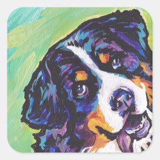 Bernese Mountain Dog Bright Colorful Pop Dog Art Square Sticker