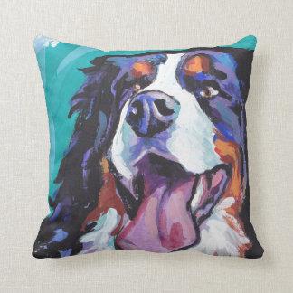 Bernese Mountain Dog Bright Colorful Pop Dog Art Throw Pillow