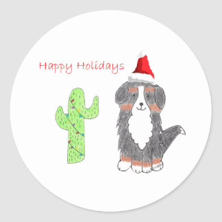 Bernese Mountain Dog Cactus Christmas Classic Round Sticker