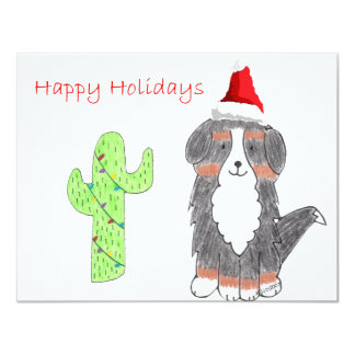 Bernese Mountain Dog Cactus Christmas 4.25x5.5 Paper Invitation Card