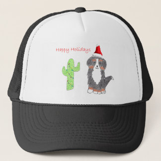 Bernese Mountain Dog Cactus Christmas Trucker Hat