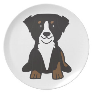 Bernese Mountain Dog Cartoon Party Plate