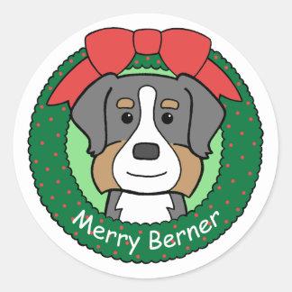 Bernese Mountain Dog Christmas Classic Round Sticker