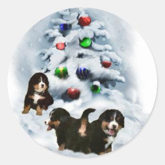 Bernese Mountain Dog Christmas Gifts Round Sticker
