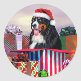 Bernese Mountain Dog Christmas Surprise Classic Round Sticker