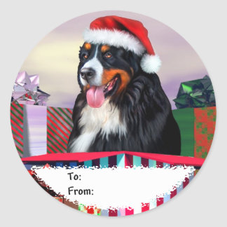 Bernese Mountain Dog Christmas Surprise Gift Tags Classic Round Sticker