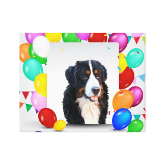 Bernese Mountain Dog Colorful Balloons Birthday Canvas Print