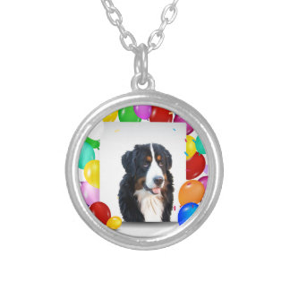 Bernese Mountain Dog Colorful Balloons Birthday Silver Plated Necklace