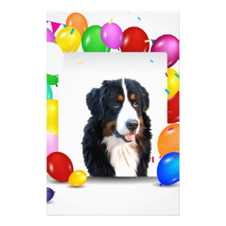 Bernese Mountain Dog Colorful Balloons Birthday Stationery