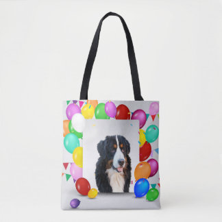 Bernese Mountain Dog Colorful Balloons Birthday Tote Bag