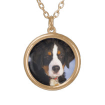 Bernese Mountain Dog - Cute Puppy Photo Gold Finish Necklace