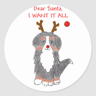 Bernese Mountain Dog Dear Santa Classic Round Sticker