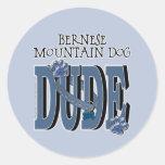 Bernese Mountain Dog DUDE Round Stickers