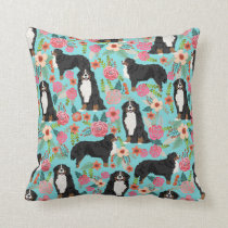Bernese Mountain Dog Florals Pillow