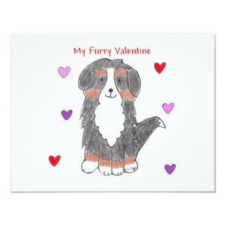 Bernese Mountain Dog Furry Valentine Card