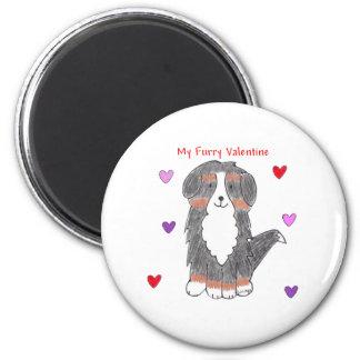 Bernese Mountain Dog Furry Valentine Magnet