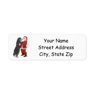 Bernese Mountain Dog Greeting Santa Label