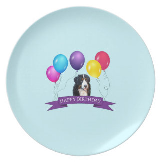 Bernese Mountain Dog Happy Birthday Dinner Plate