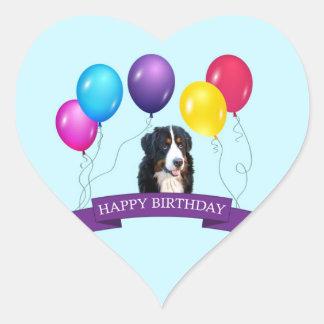 Bernese Mountain Dog Happy Birthday Heart Sticker