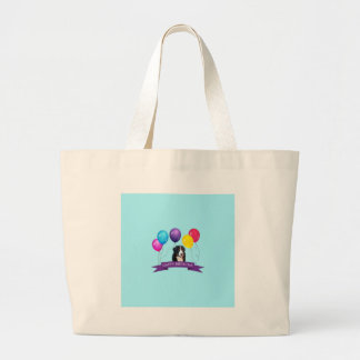 Bernese Mountain Dog Happy Birthday Large Tote Bag