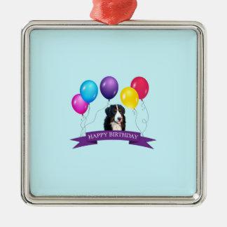 Bernese Mountain Dog Happy Birthday Metal Ornament