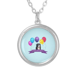 Bernese Mountain Dog Happy Birthday Silver Plated Necklace