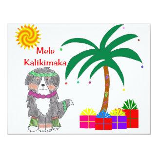 Bernese Mountain Dog Hawaiian Christmas Card