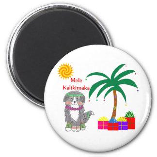 Bernese Mountain Dog Hawaiian Christmas Magnet