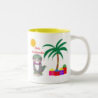 Bernese Mountain Dog Hawaiian Christmas Two-Tone Coffee Mug
