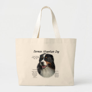 Bernese Mountain Dog History Design Large Tote Bag