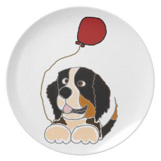 Bernese Mountain Dog Holding Balloon Plates
