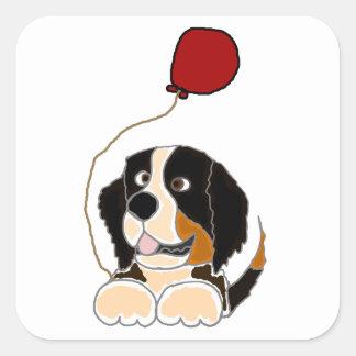 Bernese Mountain Dog Holding Balloon Square Sticker