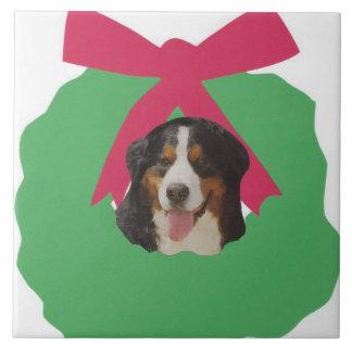 Bernese Mountain Dog Holiday Wreath Tile