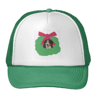 Bernese Mountain Dog Holiday Wreath Trucker Hat