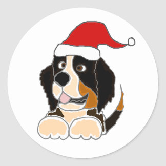 Bernese Mountain Dog in Santa Hat Christmas Art Classic Round Sticker