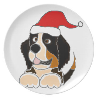 Bernese Mountain Dog in Santa Hat Christmas Art Party Plates