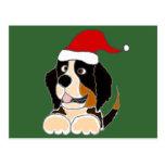 Bernese Mountain Dog in Santa Hat Christmas Art Postcard