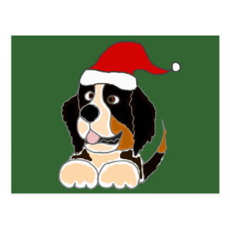 Bernese Mountain Dog in Santa Hat Christmas Art Post Cards