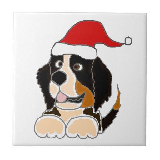Bernese Mountain Dog in Santa Hat Christmas Art Ceramic Tile