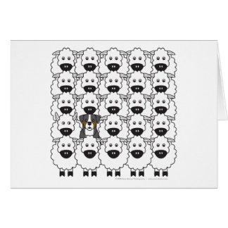 Bernese Mountain Dog in the Sheep Card