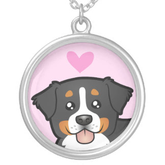 Bernese Mountain Dog Love Silver Plated Necklace