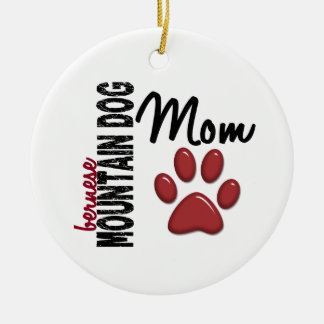 Bernese Mountain Dog Mom 2 Double-Sided Ceramic Round Christmas Ornament