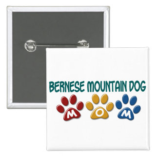 BERNESE MOUNTAIN DOG MOM Paw Print 2 Inch Square Button