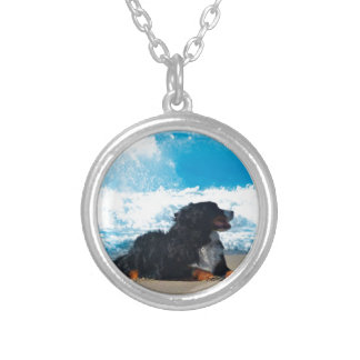 Bernese Mountain Dog on Beach Silver Plated Necklace