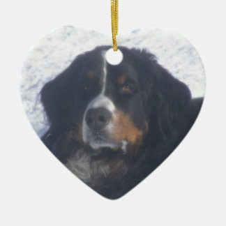 Bernese Mountain Dog Double-Sided Heart Ceramic Christmas Ornament