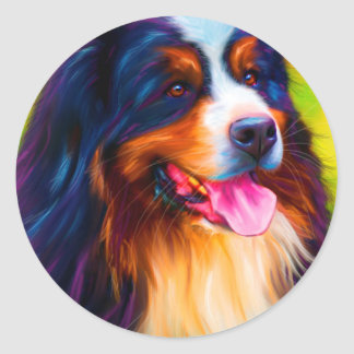 Bernese Mountain Dog Painting - Heidi Classic Round Sticker